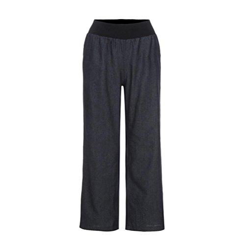 Frashing Yoga Hosen, Frauen Frauen beiläufige hohe Taillen Elastizitäts Denim weites Bein Palazzo Hosen Jeans Hose Jeans mit weitem Bein (XL, Schwarz) (Weites Grau Bein)