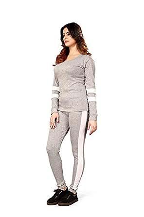 Shocknshop Grey Tape Striped White Tracksuit Tape Tee & Leggings Pants Co Ord Set for womens (LEG67)