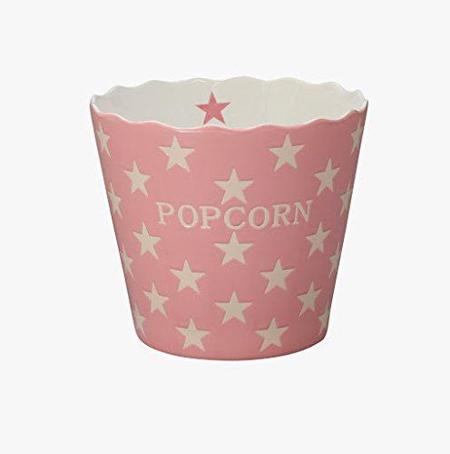 Krasilnikoff Popcorn Schale, Schüssel - Pink mit weißen Sternen - Pink Star - Keramik - Höhe: 16 cm