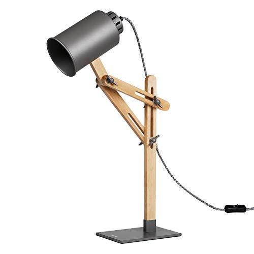 Tomons Design Lampe de bras oscillant à plusieurs angles en bois ,Table de bureau ,Table de chevet Lecture du travail et d'étude , E 26/27 socket ,Plusieurs couleurs de lumière,25W et sous gris