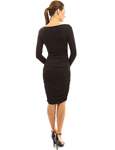 PattyBoutik Mama robe de maternité stretch froncé avec cou boule Noir