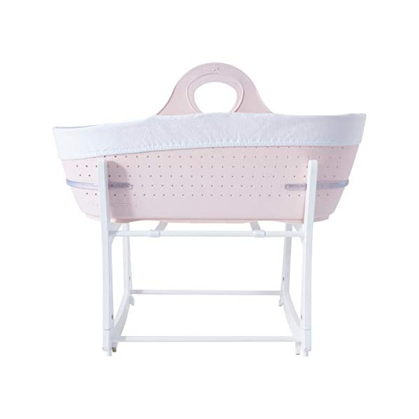 Tommee Tippee Sleepee Baby Moses Basket and Rocking Stand Pink Tommee Tippee Safe, modern, portable baby moses basket, perfect to keep your newborn baby nearby as they sleep, day or night. your sleepee moses basket comes with complete with mattress, liner and rocking stand. Choose static or rocking position, the curved base on the stand allows you to gently rock your baby to sleep and features adjustable safety stops to give you the option of rocking or keeping it still. Easy to clean, the sleepee moses basket can be cleaned with warm soapy water. the water-resistant mattress cover is wipe clean and machine washable. the 100 % cotton liner is machine washable. 2