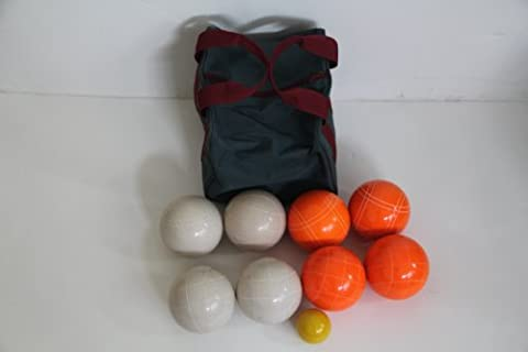 Premium Quality EPCO Tournament Bocce Set - 107mm White and Orange Bocce Ball...