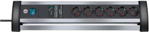 Brennenstuhl Alu-Office-Line, Steckdosenleiste 6-fach mit Überspannungsschutz aus Alu für den Schreibtisch (Schalter und 3m Kabel) Farbe: schwarz