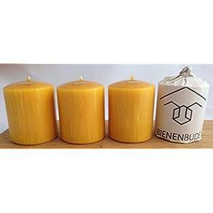 4 Stück Kerzen, 10 x 8 cm, Stumpenform, aus 100% Bienenwachs handgemacht, gegossen, mit langer Brenndauer…