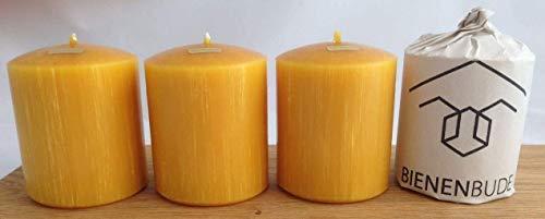 4 Stück Kerzen, 10 x 8 cm, Stumpenform, aus 100% Bienenwachs handgemacht, gegossen, mit langer Brenndauer, Bienenwachskerzen, direkt vom Imker aus Deutschland, Bayern, von der Bienenbude
