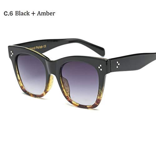 MoHHoM Sonnenbrille Hot Cat Eye Berühmtheit Kim Kardashian Sonnenbrillen Luxus Sonnenbrille Frauen Lady Übergroße Rahmen Eyewear Black Amber