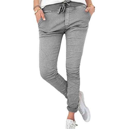 Dockers Washed Chino (CuteRose Womens Comfort Washed Drawstring Slim Casual Stretch Pull-on Pants Grey S)