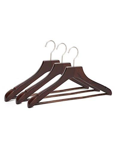 DHHP Kleiderbügel 4 Teile/Los Nussbaum Holz Kleiderbügel, Premium Dickholz Anzug Kleiderbügel Mit Hosen Bar Antike Farbe -