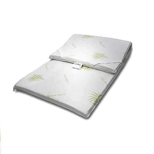 Topper 100% reinem Naturlatex Concealer für Matratze oder sovramaterasso Einzelbett 80x 190Stoff Aloe Vera -