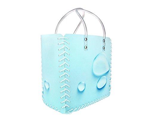 Münzinghof Einkaufstasche Wassertropfen, stabile Tragetasche, Shopping-Bag, Mehrwegtasche mit stabilen Henkeln, 300 x 300 x 150 mm, hellblau