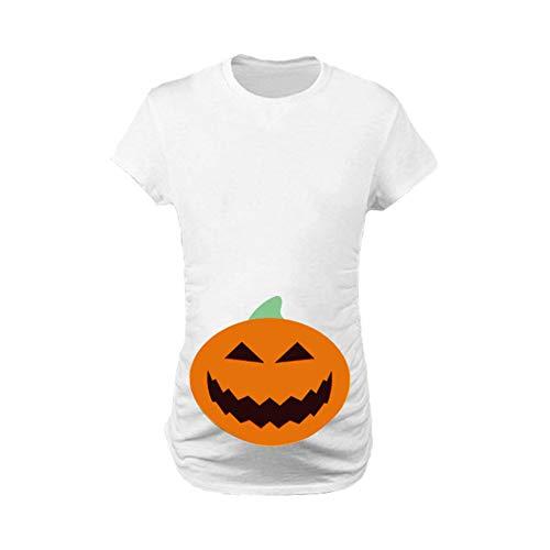 24e25b91d Camiseta de Maternidad Halloween Elasticidad Embarazada Camiseta Ropa  Premamá Calabaza Estampado-Estilo 4 S
