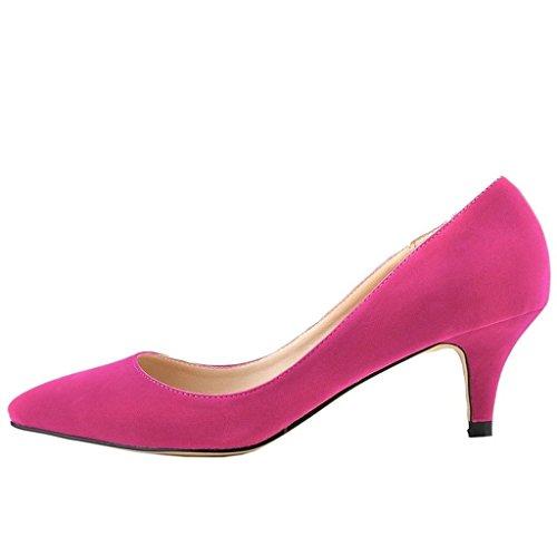 MERUMOTE Damen Spitze Middle Heels Pumps Rosa-Wildleder