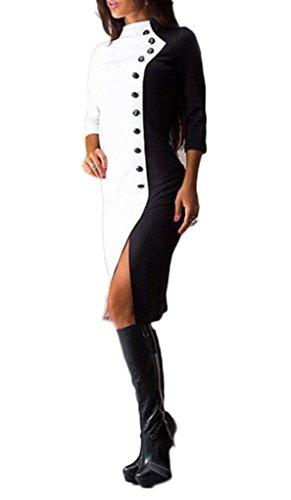 Smile YKK Femme Robe Moulante Longue Robes de Soirée Cérémonie Cocktail Col Rond Charmant Blanc