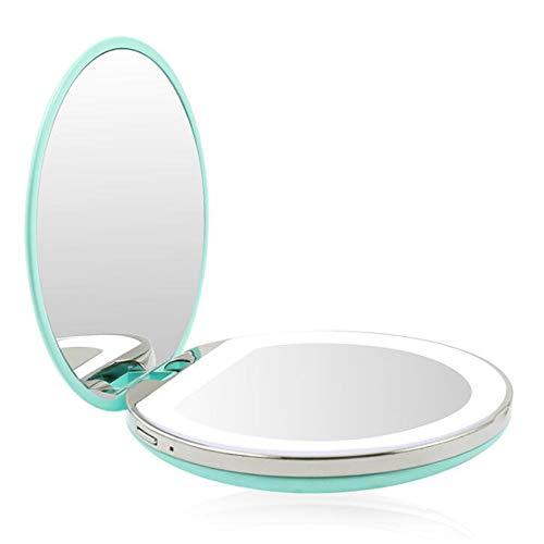 FXQ Kompakter LED-Schminkspiegel für die Reise, 3-fache Vergrößerung Doppelseitiger Kosmetikspiegel mit USB-Ladegerät Natürliches Tageslicht Clamshell Kleiner runder Spiegel für Mädchen,B