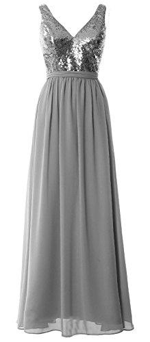 MACloth -  Vestito  - linea ad a - Senza maniche  - Donna Gray