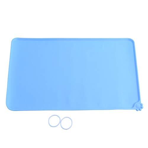 Tovaglietta per Ciotole di Cibo Silicone Tappetino Impermeabile Antiscivolo Quadrato per Cani Gatti, 47,7 x 30cm ( Colore : Blue )