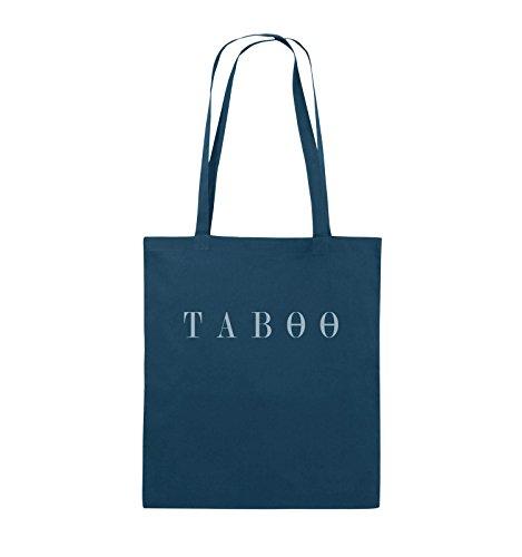 Comedy Bags - TABOO - LOGO - Jutebeutel - lange Henkel - 38x42cm - Farbe: Schwarz / Silber Navy / Eisblau