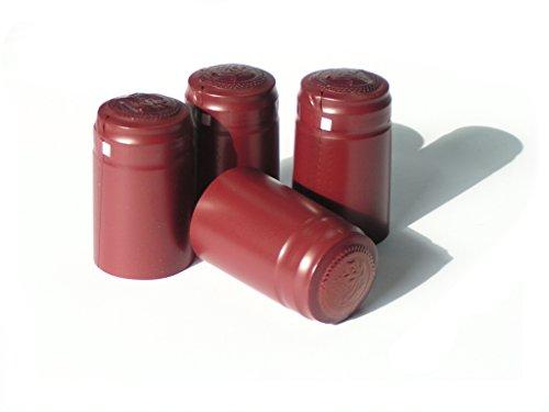 SCHRUMPFKAPSELN x 100 ROT - Flaschenkapseln mit Siegel Weinflaschenkapseln mit Abriss Flaschenkapseln Siegelkapseln Schrumpfkapsel -