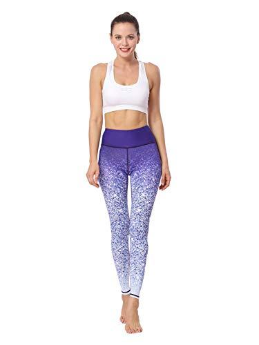 L.J.J Hosen Yogahosen Bauchkontrolle Bedruckte Leggings Buttery Soft Workout Shapewear Poppy M Leggings (Color : Purple White, Size : S-EUR) Purple Flare-hose