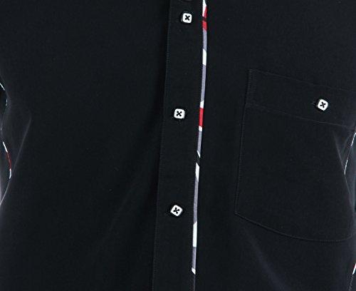 Besonderes Hemd in Schwarz, für Herren BESTE QUALITÄT, HK Mandel Freizeithemd Kurzarm Normal Nicht Tailliert, 2012 Schwarz