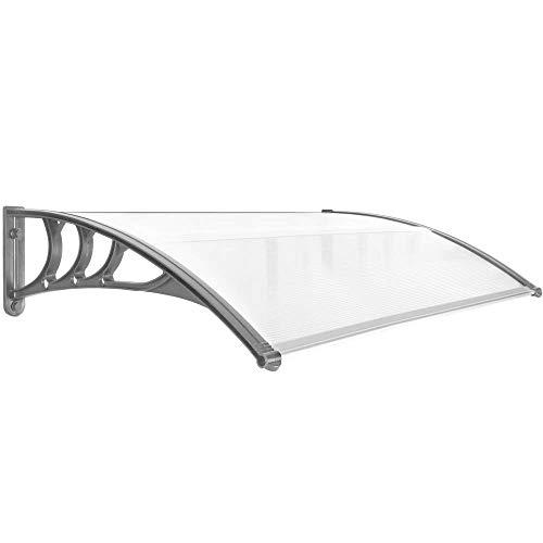 PrimeMatik - Tejadillo de protección Marquesina para Puertas y Ventanas Gris 120x80cm