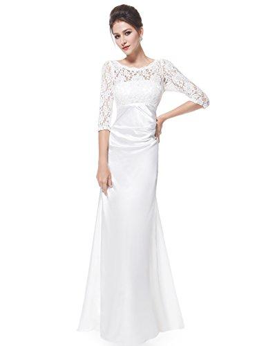 Ever Pretty Robe de Soiree Ceremonie Manches 3/4 09882 Blanc