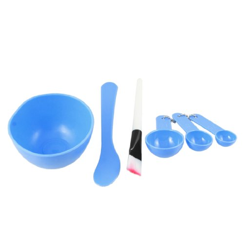 sourcing map Masque visage Dame DIY Plastique Cuillère bol mélanger ensemble outil Pinceau Stick 4 en 1 Bleu
