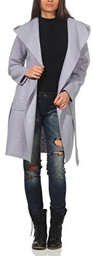 Malito donna cappotto giacca lana cintura trench vello cappa 9320 (argento-blu, indossabile per taglie dalla 40 alla 46)