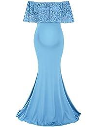Molliya Maternity Dress Lace Ruffles Elegant Gown Maxi Photoshoot Dress