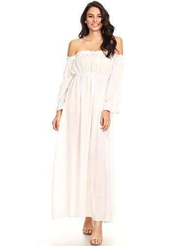 Anna-Kaci Damen Vintage Renaissance Mittelalter Kostüm Weiß Langarm Schluterfrei Unterkleid Maxi Kleid