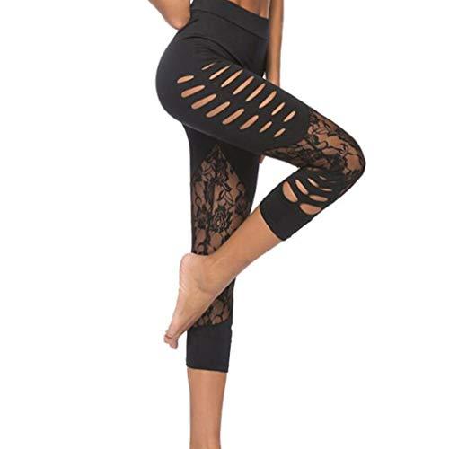 EERTX - Damen Aushöhlen Fitness Yoga-Hose/Stitching/Hohe Taille/schrägen Taschen Laufen Ausbildung Laufhose