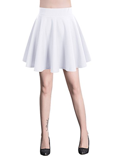 Bridesmay Damen Mini Rock Basic Solid Vielseitige Dehnbaren Informell Minikleid Retro Sexy Rock Faltenrock