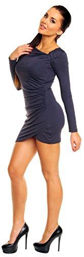 Zeta Ville- Damen - Longshirt Mini-Kleid Tunika Top - Langarm - Raffungen - 941z Blau Grau