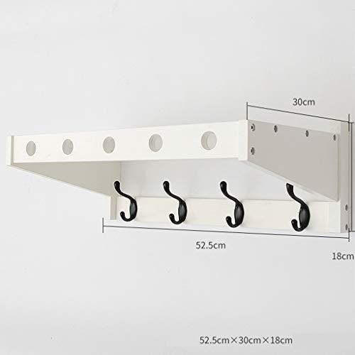 LPZ Eingang Regal - Wall Mount Coat Rack Schlafzimmer Wand Eingang Haken Kleiderbügel Haken Wohnzimmer Kleiderbügel LPZV (Farbe : Weiß, größe : 52.5 * 18 * 30CM) - White Coat Rack