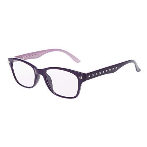 Hoxin Unisex-Lesebrille Leichte presbyopische Brille Eyewear 1.00-4.00 Diopter, Diamant-Strass-Stil (Lila, 2.00)