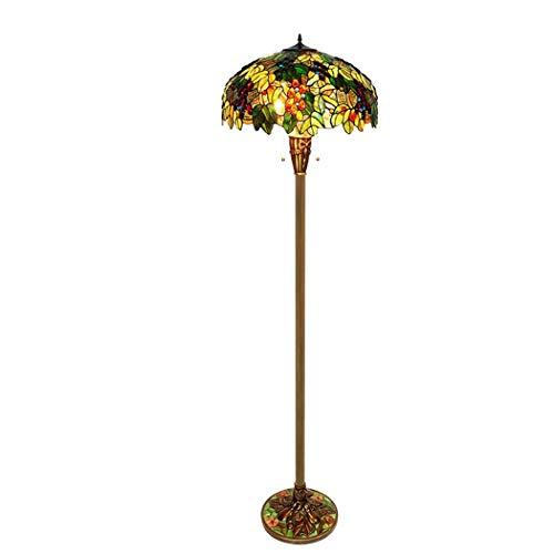 Tiffany Stehlampe Kupfer (20-Zoll-Tiffany-Stil Lesen Stehlampe, Glasmalerei Mit Pull Chain Floor Uplighter, 3 Light Antique Full Kupfer Basis Für Schlafzimmer Wohnzimmer Beleuchtung Tisch Set, Multicolor (Farbe : 110v))