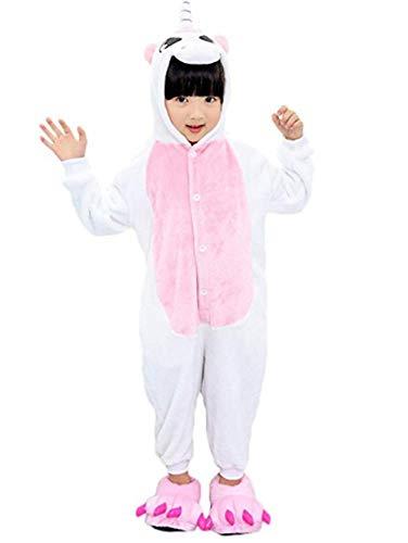 Zebra Kostüm Rosa - Warmes Unisex-Karnevals-Kostüm für Kinder, Einhorn Eule Zebra Giraffe Kuh, für Halloween Fest Party, als Pyjama, Tier-Kigurumi-Kostüm für Zoo-Cosplay, Einteiler - M/Höhe 125/135 cm - Unicorn Rosa