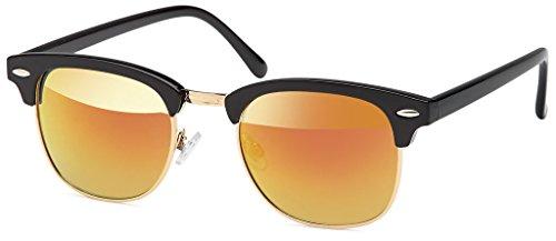 Balinco Retro Vintage Clubmaster Sunglasses Sonnenbrillen mit 1/2 Rahmen und schwarz-goldenes...