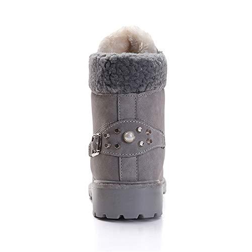 Donna Inverno Pelliccia Stivali da Neve Stringate Scarpe Snow Boots Caviglia Caldo Stivali Martin Stivaletti Grigio 39