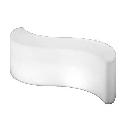 Slide Wave Light Pouf Table basse lumineuse, Blanc brillant
