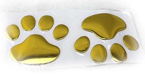 Richlong Fashion Car Sticker 3d Dog Bear Footprints Sgaoe Chrome Badge Emblem Car Sticker Decal Car Styling Accessories Gold