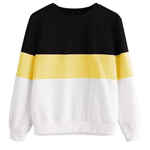 TWIFER Langarm Cut Sew Pullover Streifen Shirt Hoodie Print Sweatshirt Damen Herbst Sweater (S/EU 38, Gelb)