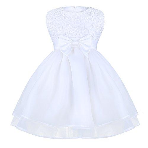 iEFiEL Babykleider - festliches Baby-Mädchen Kleid weiß Taufkleid Hochzeit Festzug Kleinkind Kleidung Gr. 68-92 Weiß 74-80