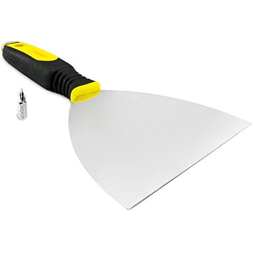 Spachtel 15,2cm Edelstahl, dieses Werkzeug ist mit einer ergonomischen, weichen, gummierten Grifffläche ausgestattet, für zusätzlichen Komfort bei der Arbeit, flexible Klinge, Breite 150mm