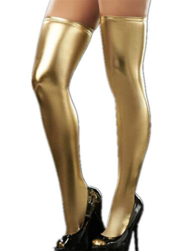 Flydo Halterlose Damenstrümpfe Stockings Gotik Oberschenkel Hohe Strümpfe Einheitsgröße Wetlook Optik Kniestrümpfe BodysuitBodysuit