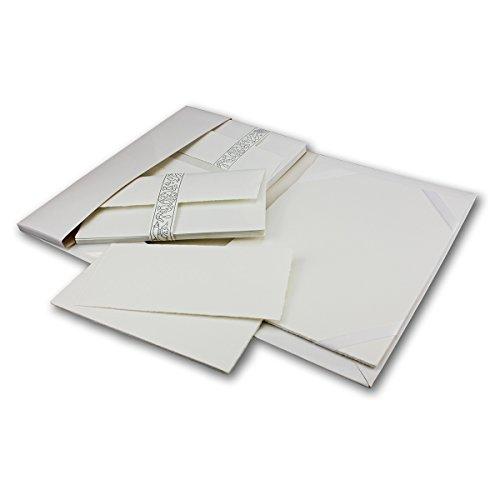 70 teiliges A4/DIN LANG exklusives Schreibset aus echtem Büttenpapier von ZERKALL | 25 Bogen & 10...