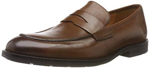 Clarks ronnie step, mocassini uomo, marrone british tan lea, 45 eu