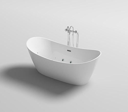 supply24 Freistehende Luxus Whirlpool Badewanne Orlando mit 12 Massage Düsen + LED Beleuchtung Wanne freistehend Hot Tub Spa Indoor/innen für 2 Personen (Ohne Armatur)