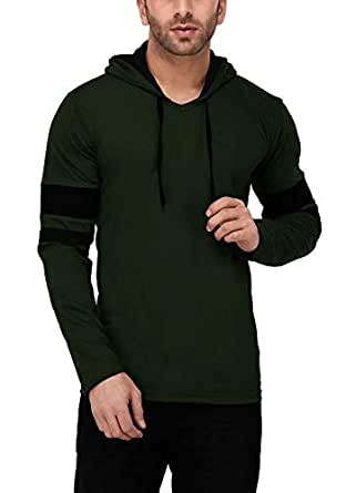 Katso Men's Cotton Hooded Stripe T-Shirt (Dark Green, Small)